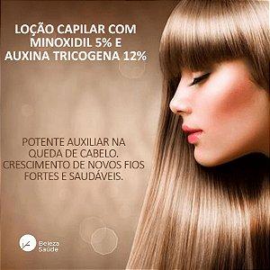 Minoxidil 5% + Auxina Tricogena 12% : Loção Capilar para Queda de Cabelos Calvície
