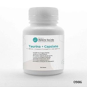Taurina + Capsiate + 3 Ativos - Composto Termogênico sem Cafeína - 120 doses