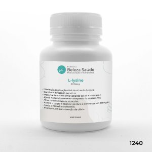 L-lysine 500mg Combate Herpes - 240 doses