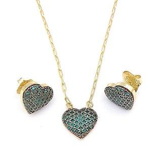 Gargantilha Semi joia Coração Micro Zircônias Verde