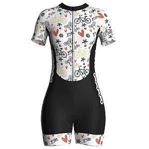 Macaquinho Ciclismo Feminino Pro Tour Bikes Forro em Gel