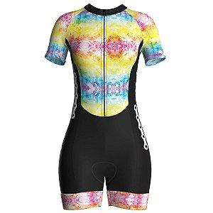 Macaquinho Ciclismo Feminino Pro Tour Tie Day Forro em Gel