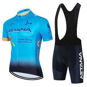 Conjunto Ciclismo Bretelle e Camisa Astana Preto/Branco