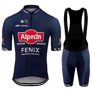 Conjunto Ciclismo Bretelle e Camisa Alpecin Forro em Gel