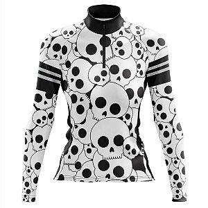 Camisa Ciclismo Mountain Bike Feminina Pro Tour Caveiras Manga Longa