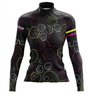 Camisa Ciclismo Mountian Bike Feminina Pro Tour Caveiras Manga Longa