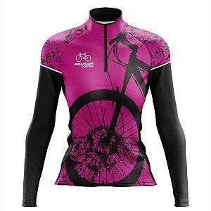 Camisa Ciclismo Mountain Bike Feminina Pro Tour Bike Rosa Manga Longa