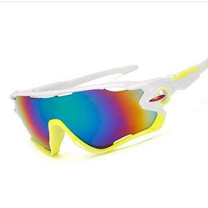 Óculos de Ciclismo Unissex Branco / Amarelo fluor