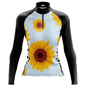 Camisa Ciclismo Mountain Bike Feminina Pro Tour Girassóis Manga Longa