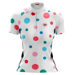 Camisa Ciclismo Mountain Bike Feminina Branca Bolinhas