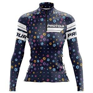 Camisa Ciclismo Mountain Bike Feminina Pro Tour Patinhas Manga Longa