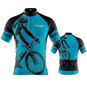 Camisa Masculina Manga Curta Pro Tour Bike Azul