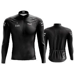 Camisa ciclista Manga Longa Masculina Mercedes preta dry fit proteção uv + 50