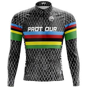 Camisa Ciclismo Mountain Bike Manga Longa Pro Tour UCI Preta