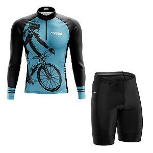 Conjunto Masculino Ciclismo Mountain bike pro tour bike azul manga longa