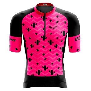 Camisa Ciclismo Feminina Smart Cacto Rosa