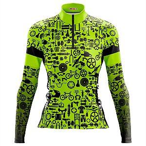 Camisa Ciclismo MTB Feminina Pro Tour Verde Peças Dry Fit Proteção UV +