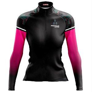 Camisa Ciclismo Mountain Bike Feminina Pro Tour Caveira Rosas Manga Longa