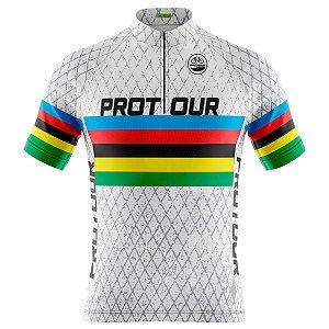 Camisa Ciclismo Masculina Mountain Bike Pro Tour Grade Branca Dry Fit Proteção UV + 50