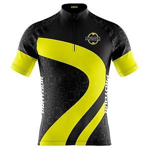 Camisa Ciclismo Masculina Mountain Bike Pro Tour Engrenagem Amarela Dry Fit Proteção UV + 50