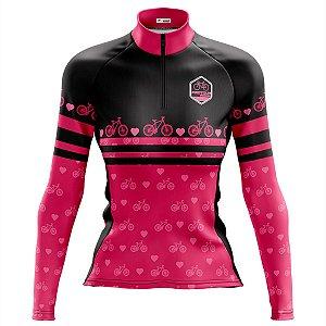Camisa Ciclismo Feminina MTB Feminina Pro Tour Bike Rosa Manga Longa Dry Fit Proteção UV + 50