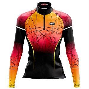 Camisa Ciclismo Mountain bike Feminina Pro Tour Pôr do Sol dry fit proteção uv+50