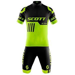 Conjunto Masculino Ciclismo Mountain Scott RC Amarelo Flúor