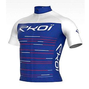 camisa ciclismo Masculina ERT Manga curta EKOI NOIR Azul