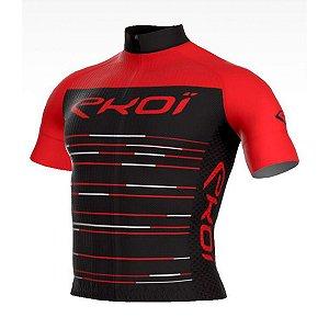 camisa ciclismo Masculina ERT Manga curta EKOI NOIR Vermelha