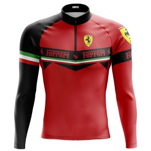 Camisa Ciclismo Masculina Mountain Bike Ferrari Manga Longa