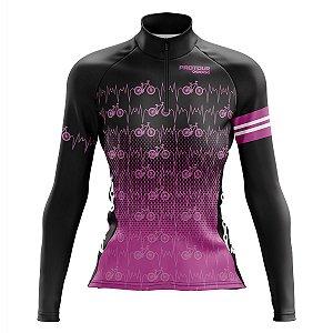 Camisa de Ciclismo Feminina Mountain Bike Pro Tour Bikes Rosa Manga Longa