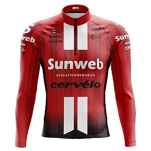 Camisa Ciclismo Masculina Mountain Bike Sunweb Manga Longa