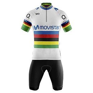 Conjunto Masculino Ciclismo Bermuda e Camisa Movistar UCI
