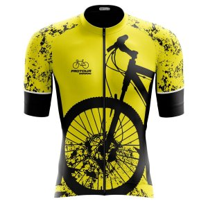 Camisa Ciclismo Pro Tour Premium Bike Amarela Zíper Total