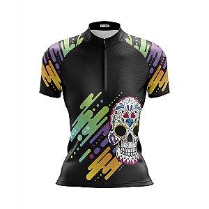 Camisa Ciclismo Mountain Bike Feminina Caveira Mexicana