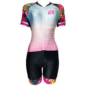 Macaquinho Ciclismo MTB Feminino PRO TOUR Tropical Forro em GEL
