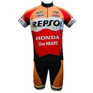 Conjunto Ciclismo Mountain Bike Bermuda e Camisa Repsol