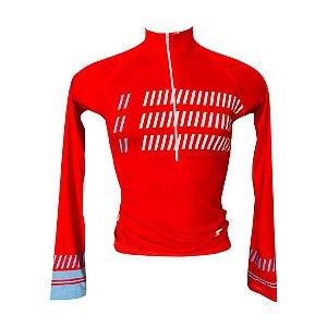 Camisa Feminina M.Longa Ciclismo Passeio Speed Red