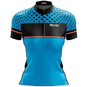 Camisa Ciclismo Mountain Bike Feminina Azul Bolinhas