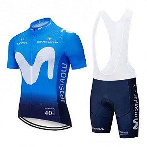 Conjunto Ciclismo Bretelle e Camisa Movistar