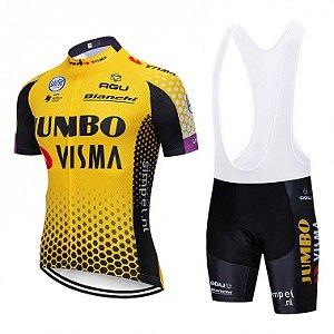 Conjunto Ciclismo Bretelle e Camisa Jumbo Visma Forro em Gel