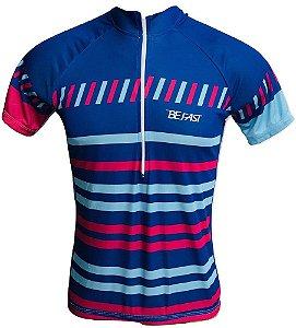 Camisa Ciclismo Mountain Bike Feminina Azul e Rosa