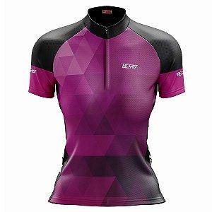 Camisa Ciclismo MTB Feminina Degrade Roxa