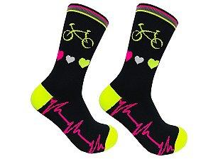 Meia Ciclismo MTB Cano Longo Bike Coração Amarelo Flúor