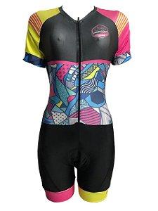 Macaquinho Ciclismo Feminino PRO TOUR Romero Brito Forro em GEL
