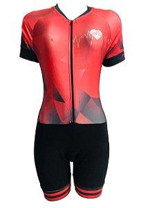 Macaquinho Ciclismo Feminino PRO TOUR Degrade Vermelho Forro em GEL