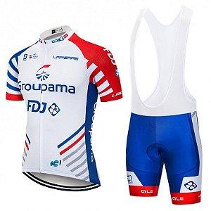 Conjunto Ciclismo Bretelle e Camisa FDJ Forro em gel