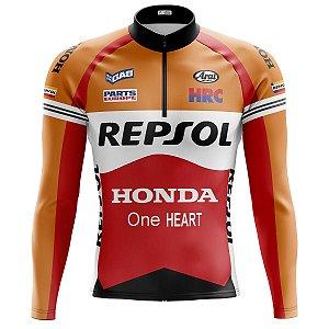 Camisa Ciclismo Mountain Bike Manga Longa Repsol Honda