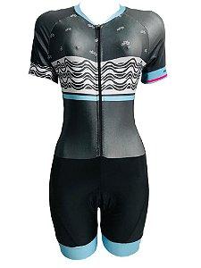 Macaquinho Ciclismo Feminino PRO TOUR Garota Ipanema  Forro em GEL