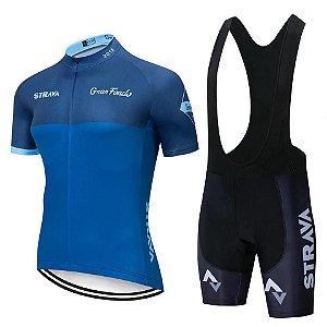 Conjunto Ciclismo Bretelle e Camisa Strava Team